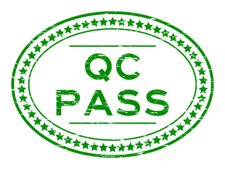 qc: Grunge green QC pass oval rubber seal stamp on white background
