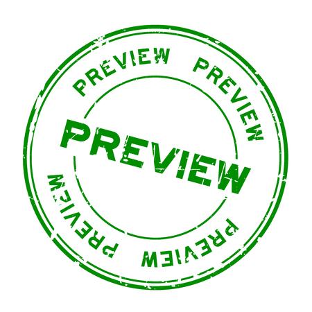 Grunge green preview round rubber seal stamp on white background Ilustração