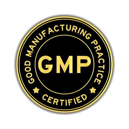 Pegatina redonda certificada GMP (Good Manufacturing Practice) en color negro y dorado sobre fondo blanco