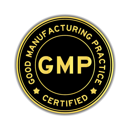 Black and gold color GMP (Good Manufacturing Practice) certified round sticker on white background Vectores