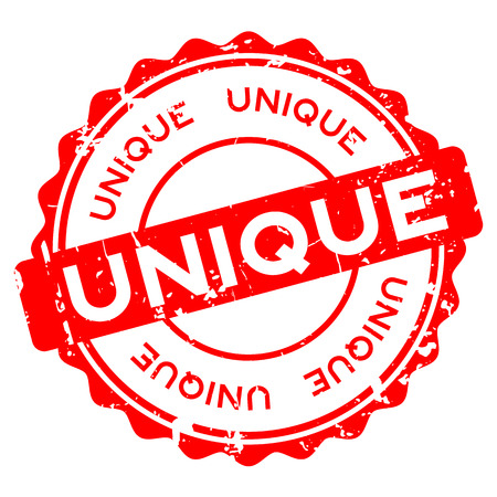 Grunge red unique round rubber seal stamp on white background