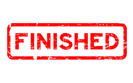 accomplish: Grunge red finished square rubber seal stamp on white background