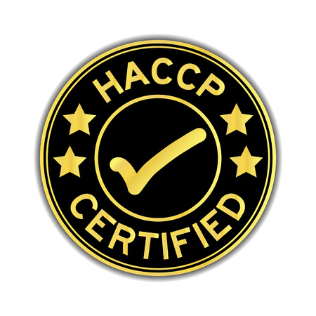 Black and gold color of HACCP (Hazard analysis and critical control points) certified round sticker on white background Vettoriali