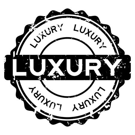 Grunge black luxury round rubber seal stamp on white background