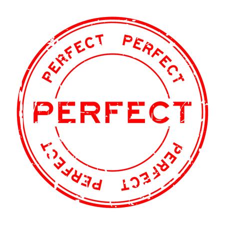 Grunge red perfect round rubber seal stamp on white background Ilustração