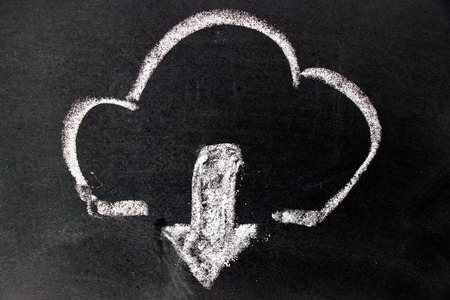 security symbol: White chalk drawing as cloud  and down arrow icon on black board background (Concept for cloud computer download) Stock Photo