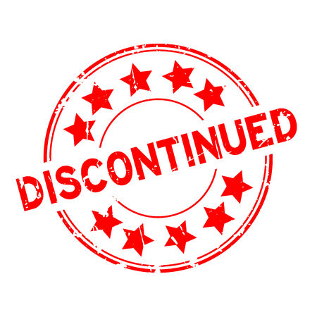 Grunge red discontinued with star icon round rubber stamp on white background Vektoros illusztráció
