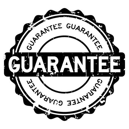 Grunge black guarantee round rubber seal stamp on white background