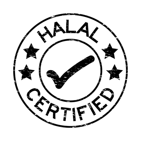Grunge black Halal certified with mark icon round rubber seal stamp on white background