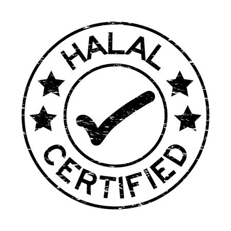 Grunge zwarte halal gecertificeerd met markeren pictogram ronde rubberen afdichting stempel op witte achtergrond