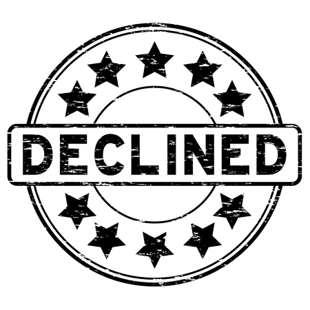 declining: Grunge black declined with star icon round rubber seal stamp on white background