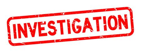 Grunge red investigation square rubber seal stamp on white background Illustration