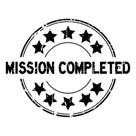 Grunge black mission completed with star icon round rubber seal stamp on white background