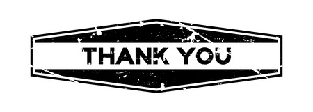 Grunge black thank you wording hexagon rubber seal stamp on white background 向量圖像