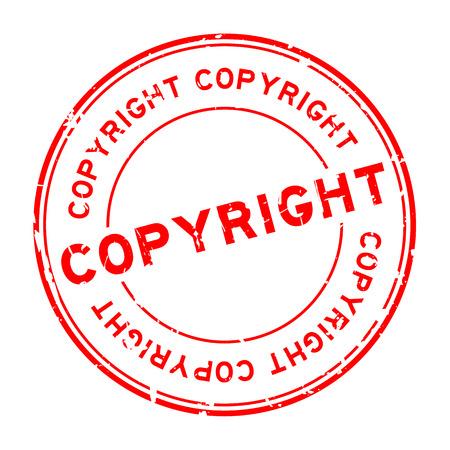 흰색 배경에 grunge 빨간색 저작권 라운드 고무 인감 스탬프