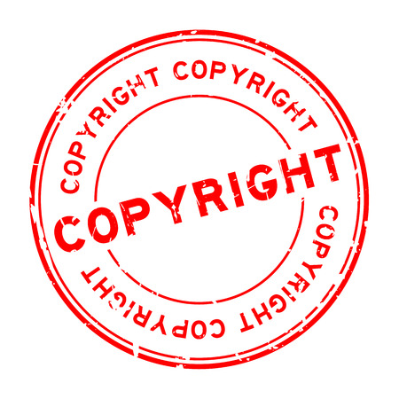 Grunge red copyright round rubber seal stamp on white background Vectores