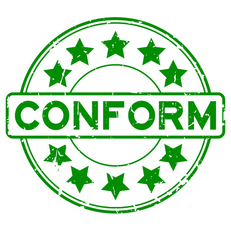 conformance: Grunge green conform with star icon round rubber seal stamp on white background Illustration