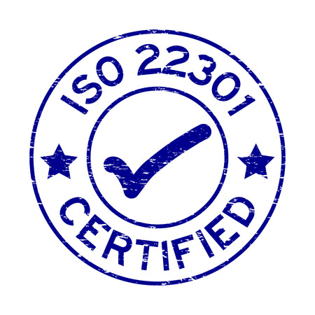 Grunge blue ISO 22301 certified round rubber seal stamp