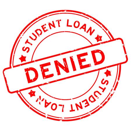 그런 빨간색 학생 대출 거부 단어 고무 도장 스탬프 라운드 일러스트