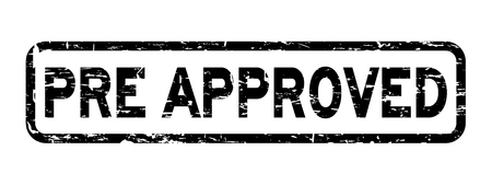 seal of approval: Grunge black pre approved wording square rubber seal stamp on white background Illustration