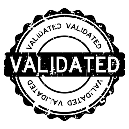 seal of approval: Grunge black validated wording round rubber seal stamp on white background