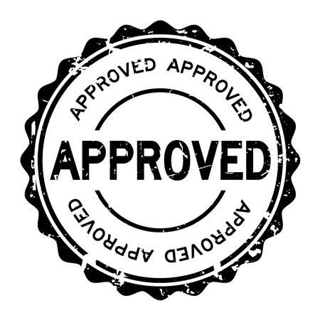 seal of approval: Grunge black approved wording round rubber seal stamp on white background Illustration