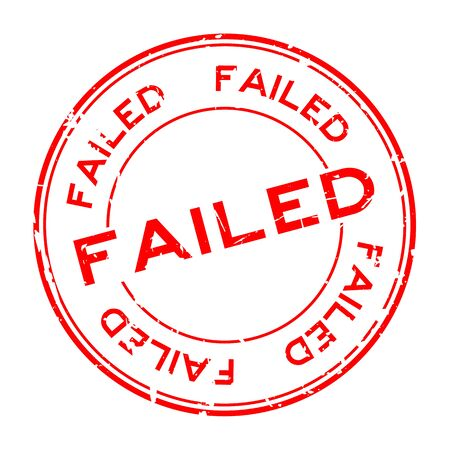 Grunge red fail wording round rubber seal stamp on white background Ilustrace