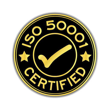Black and gold color ISO 50001 certified with mark icon round sticker on white background Çizim