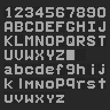 Chiffres blancs anglais numériques de LED, police en minuscule, affichage de nombre sur le fond noir