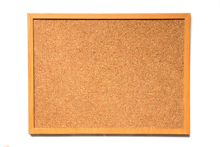 Brown cork board with wood frame on white background Stock Photo