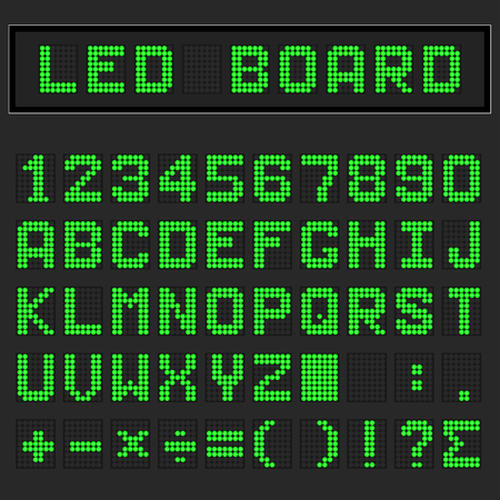 Green LED digital english uppercase font, number and mathematics symbol display on black background