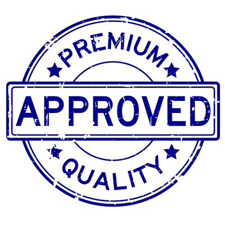 seal of approval: Grunge blue premium quality approved round rubber seal stamp on white background