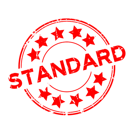 Grunge red standard wording with star icon round rubber seal stamp on white background Banco de Imagens - 87671577