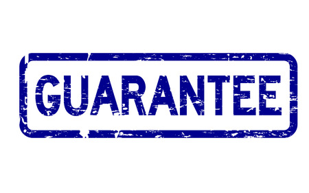 Guarantee blue square rubber seal stamp.
