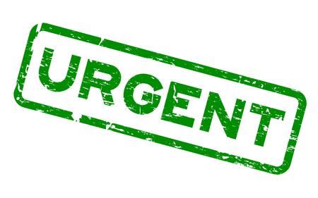 Grunge green urgent square rubber seal stamp on white background Illustration