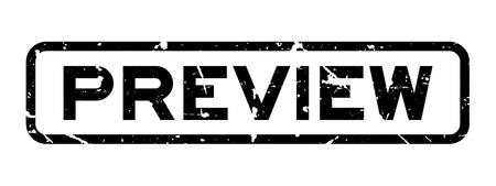 Grunge black Anteprima parola quadrata sigillo di gomma satmp su sfondo bianco