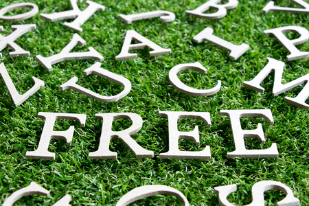 Wood alphabet in wording free on artificial green grass background