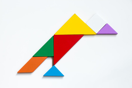 Colorful wood tangram puzzle in vulture shape on white background