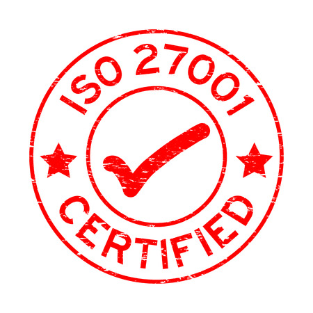 Grunge red ISO 27001 certified round rubber seal stamp on white background