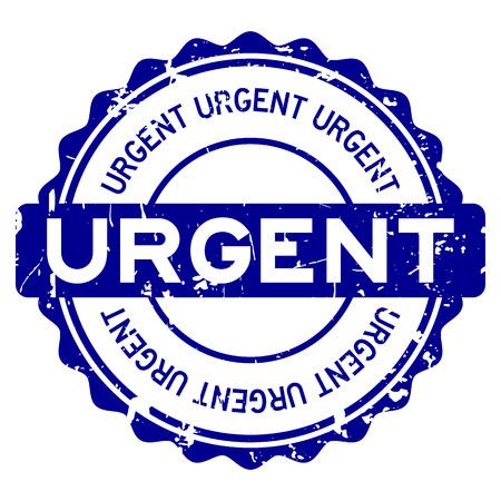 Grunge blue urgent round rubber seal stamp on white background Vettoriali