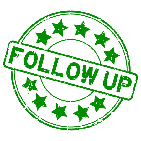 Follow up icon with green stars.
