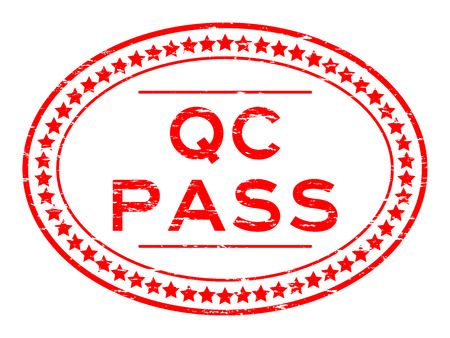 Grunge red QC pass oval rubber seal stamp on white background Illustration