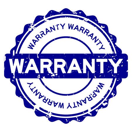 Grunge blue warranty round rubber seal stamp on white background Illustration