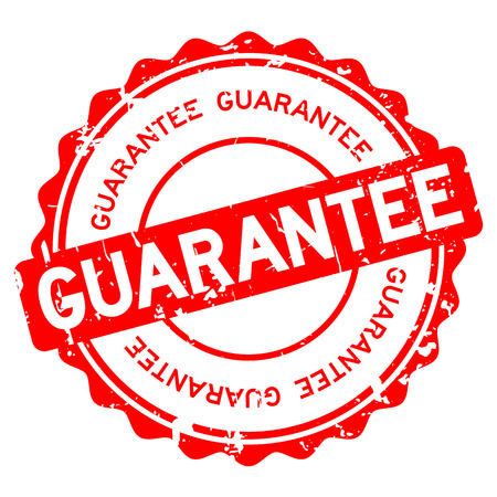 Grunge red guarantee round rubber seal stamp on white background