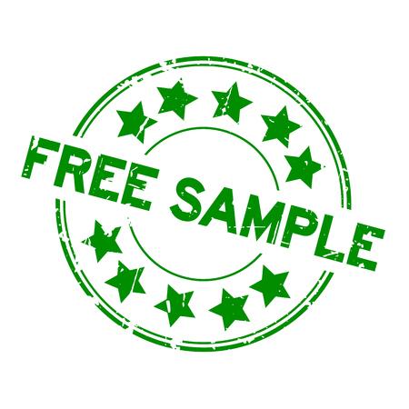 Échantillon gratuit grunge vert avec icône étoile rond timbre joint en caoutchouc sur fond blanc Vecteurs
