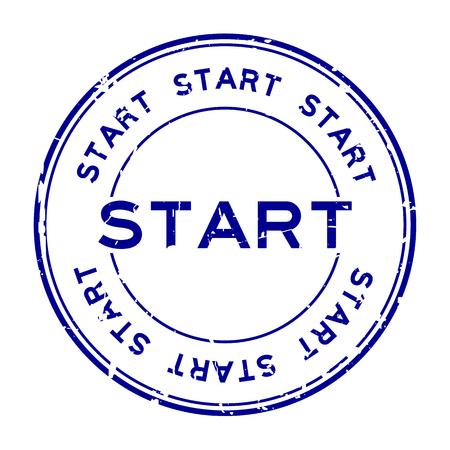 グランジ ブルーは、白い背景の上の円形のゴム製シール スタンプを開始します。