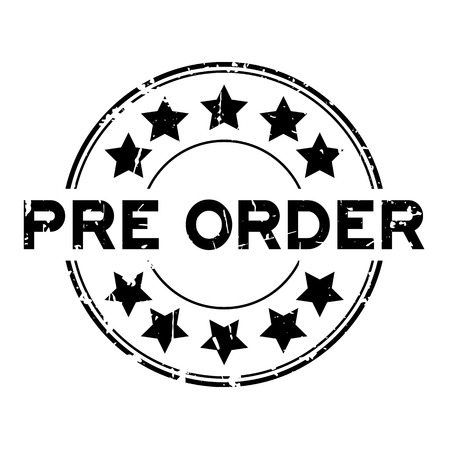 Grunge black pre order wording with star icon round rubber business seal stamp on white background