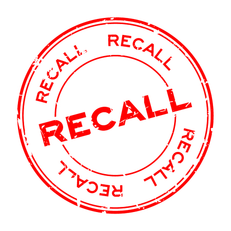 Grunge red recall round rubber seal stamp on white background