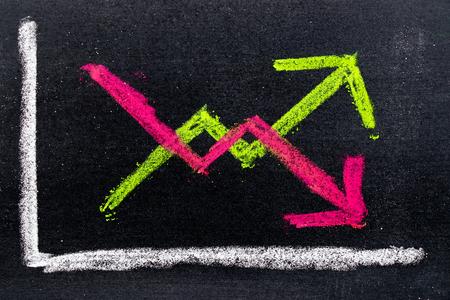 Bergeben Sie das Zeichnen der grünen und roten Kreide in auf und ab Pfeilform auf schwarzem Bretthintergrund Standard-Bild - 92363854