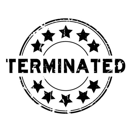 Grunge black terminated with star icon round rubber seal stamp on white background Illustration